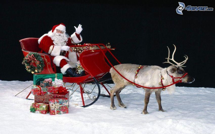 Santa Claus, sled, reindeer, snow
