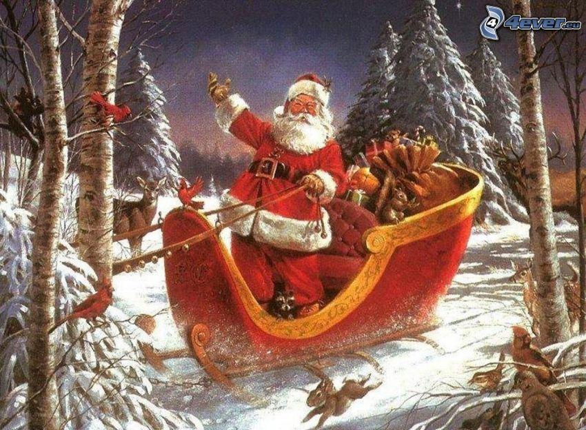 Santa Claus, sled, trees, snow, cartoon