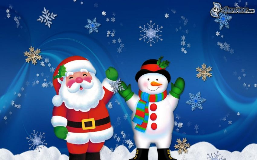 Santa Claus, snowman, snowflakes, snow, cartoon