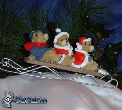 sled, teddy bears, christmas, winter