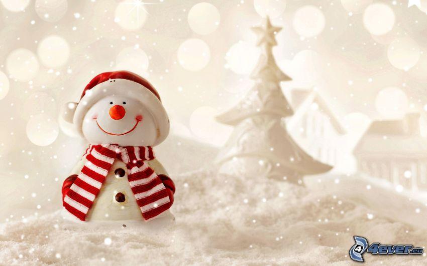 snowman, christmas tree, snow