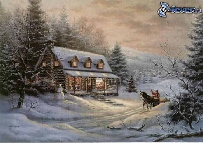 snowy cottage, cartoon house, Thomas Kinkade
