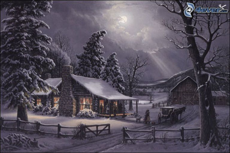 snowy cottage, coniferous trees, horse cart, old snowy fence, cartoon, Thomas Kinkade