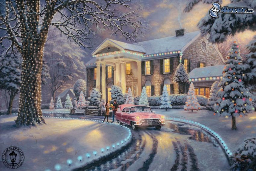 snowy house, winter, road, Thomas Kinkade
