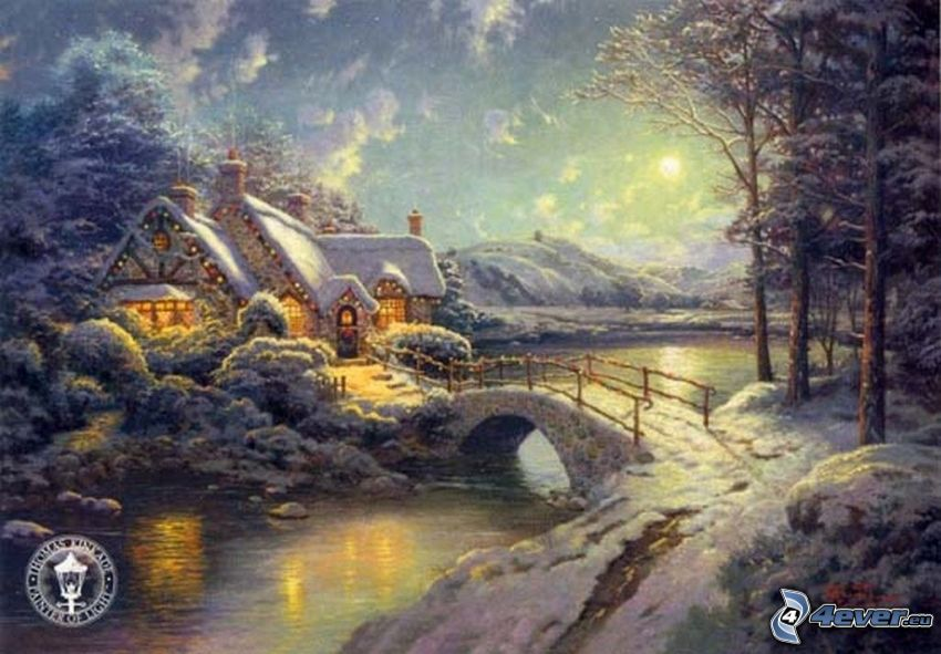snowy landscape, snowy house, stone bridge, River, cartoon, Thomas Kinkade