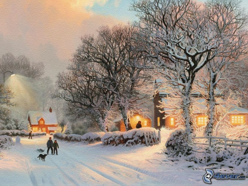 snowy village, snow-covered road, snow, people, snowy trees, cartoon, Thomas Kinkade