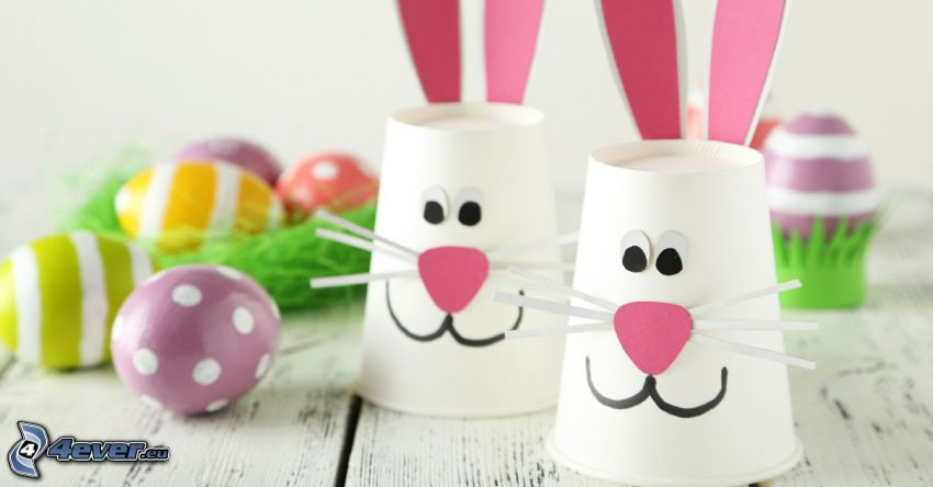 easter bunnies, easter eggs