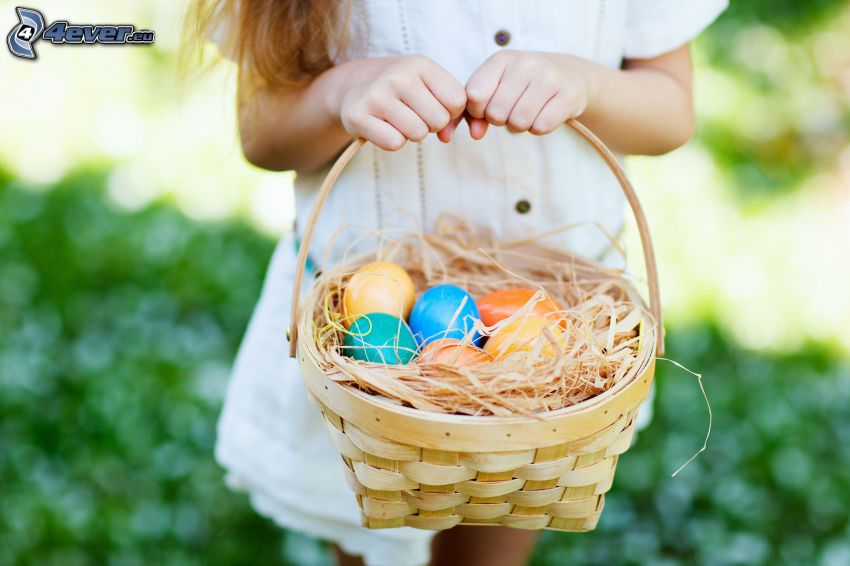 easter eggs, basket, girl