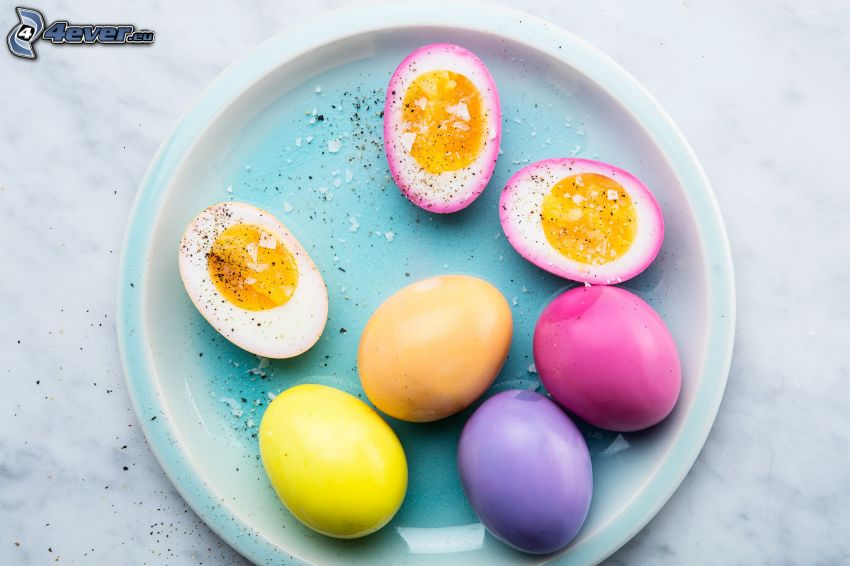 easter eggs, plate, colors