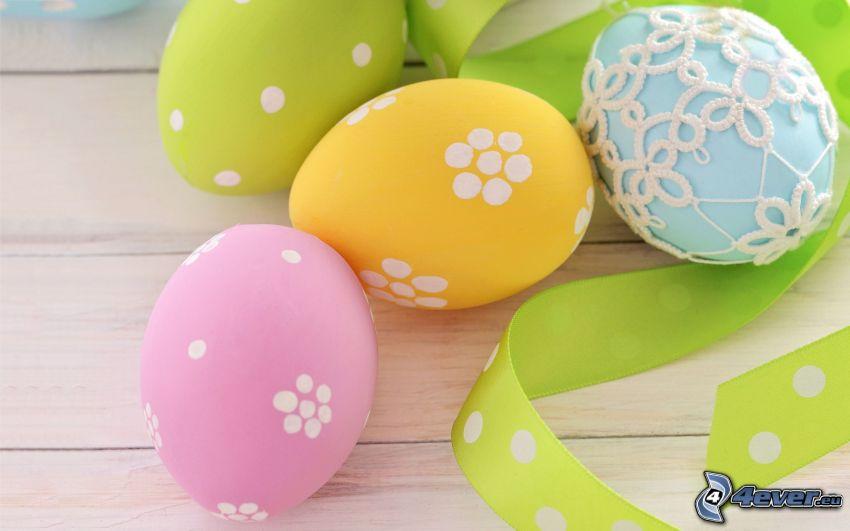 painted Eggs, easter eggs, ribbon