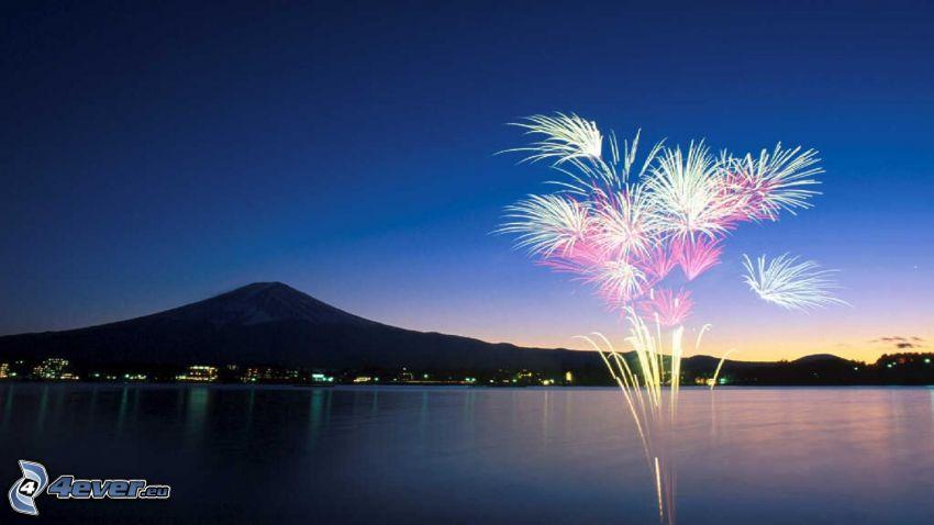fireworks, mount Fuji, lake