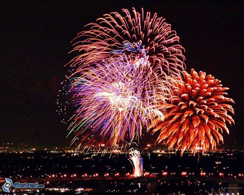 fireworks, night city