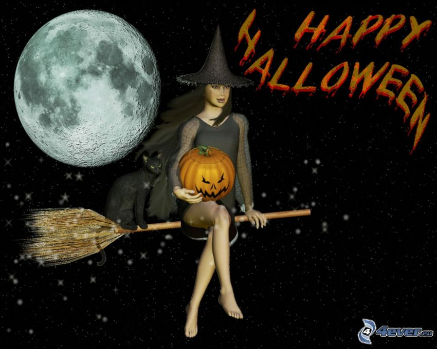 Halloween, witch, witch on broom, moon, halloween pumpkin