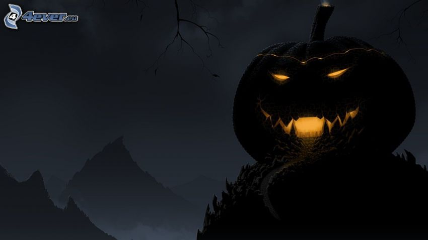 halloween pumpkin, night, hills