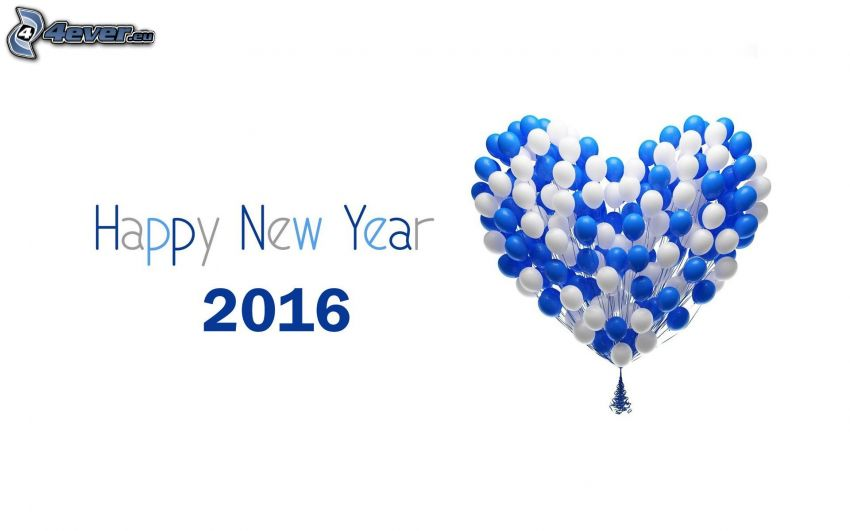 happy new year, 2016, balloons, christmas tree