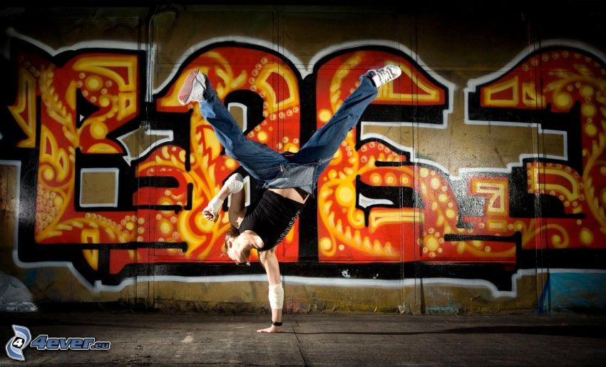 breakdance, graffiti