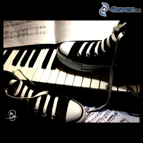 black sneakers, Converse, piano, sheet of music