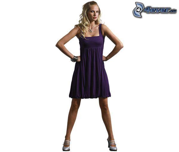 blonde, purple dress