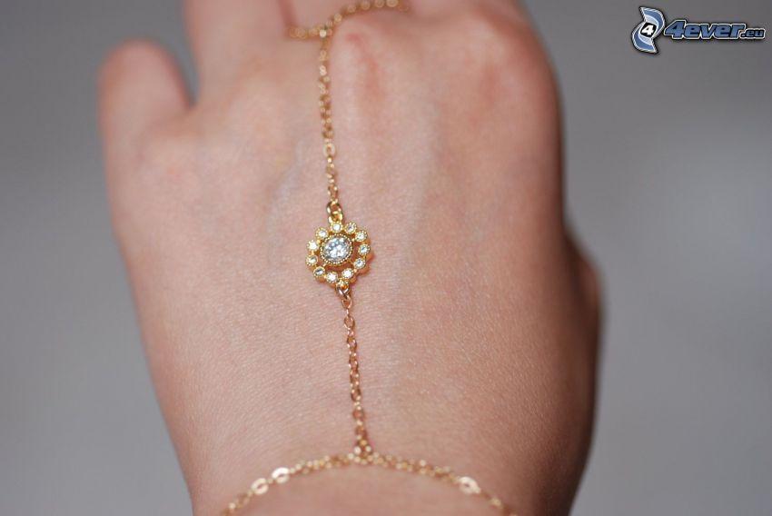 bracelet, necklace, hand