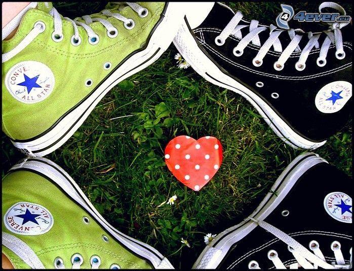 Converse, heart, grass