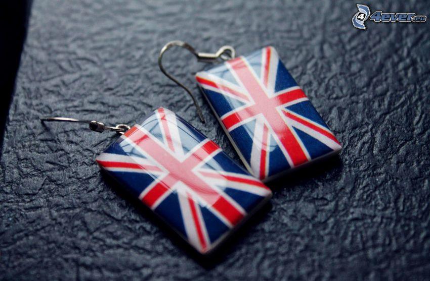 earrings, english flag