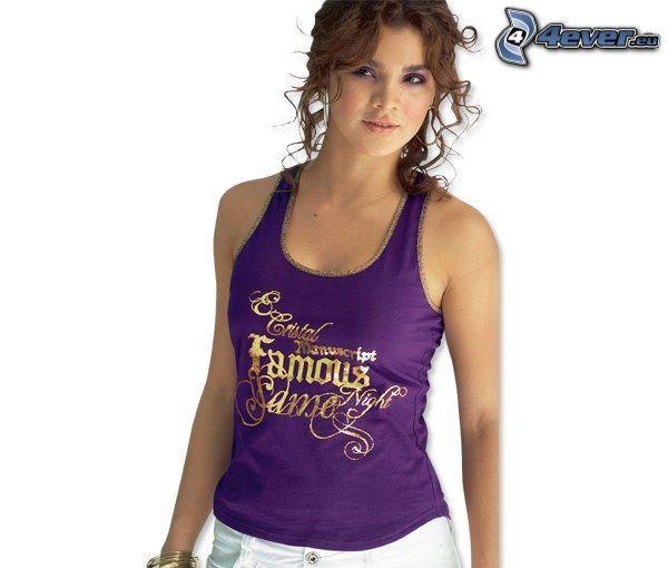 girl, curly hair, T-shirt