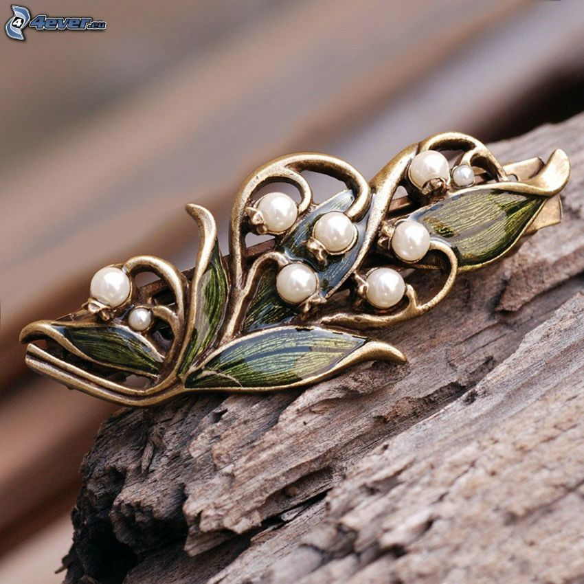 pendant, flowers, lily of the valley, wood