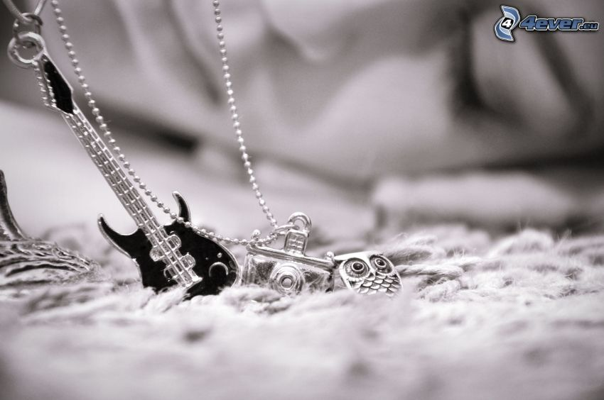 pendants, camera, owl, guitar, necklace, black and white photo