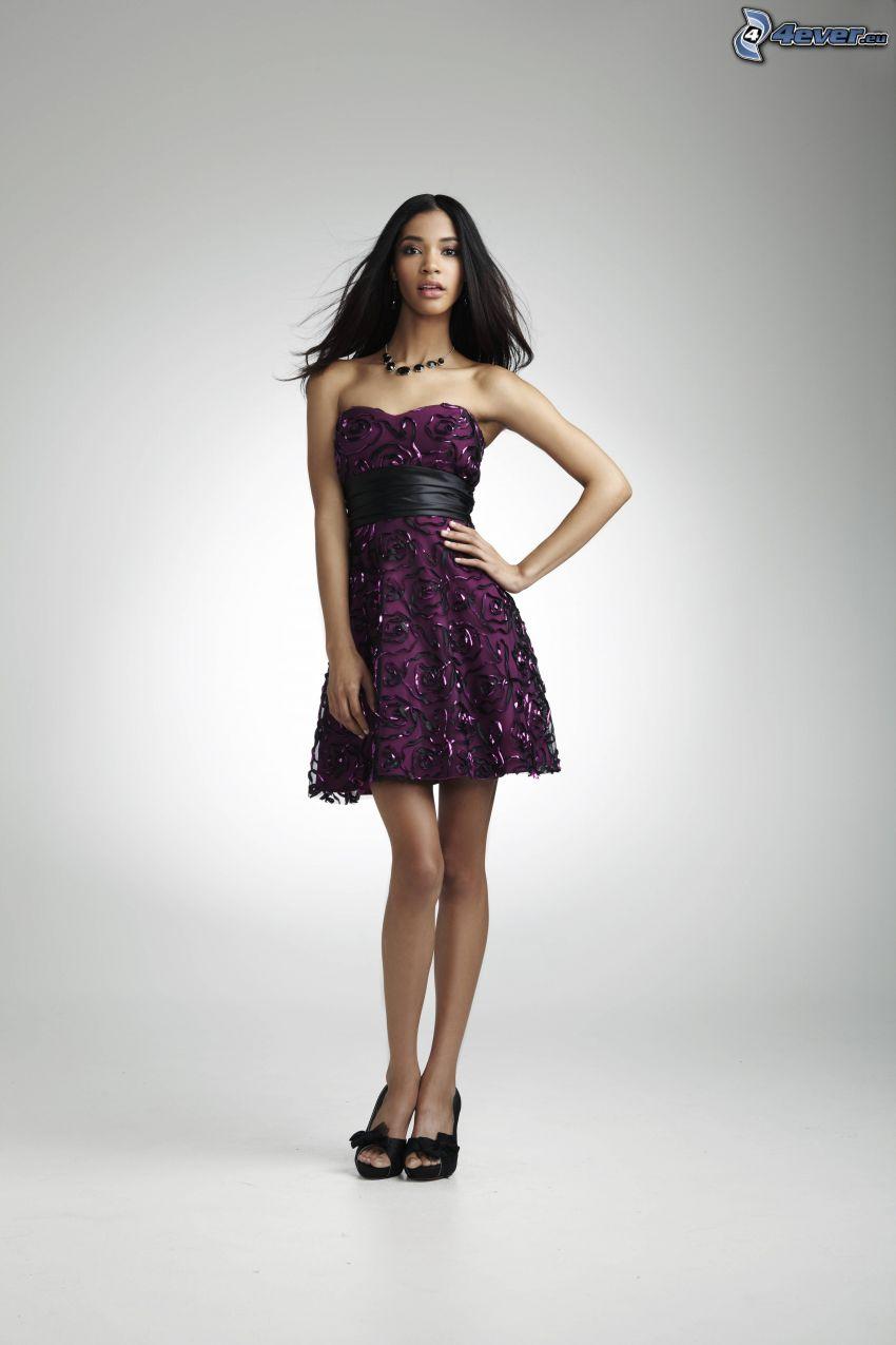 purple dress, model, black woman