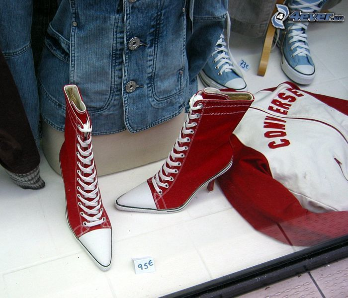 red sneakers, boots, shoes, shoe, heel, sweater, Converse