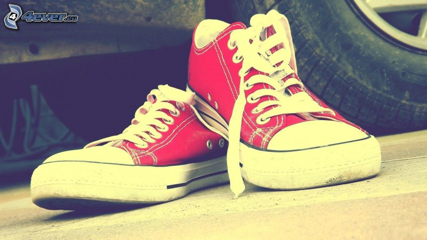 red sneakers, Converse