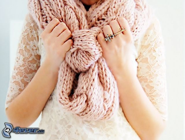 scarf, girl, hands