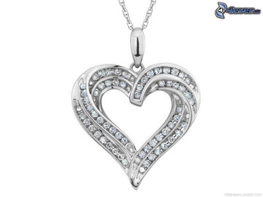 silver pendant, heart