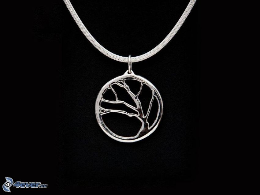silver pendant, tree