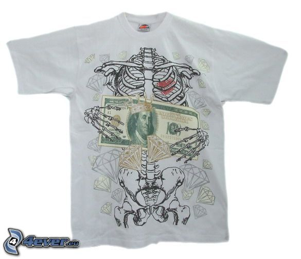 T-shirt, banknote, skeleton