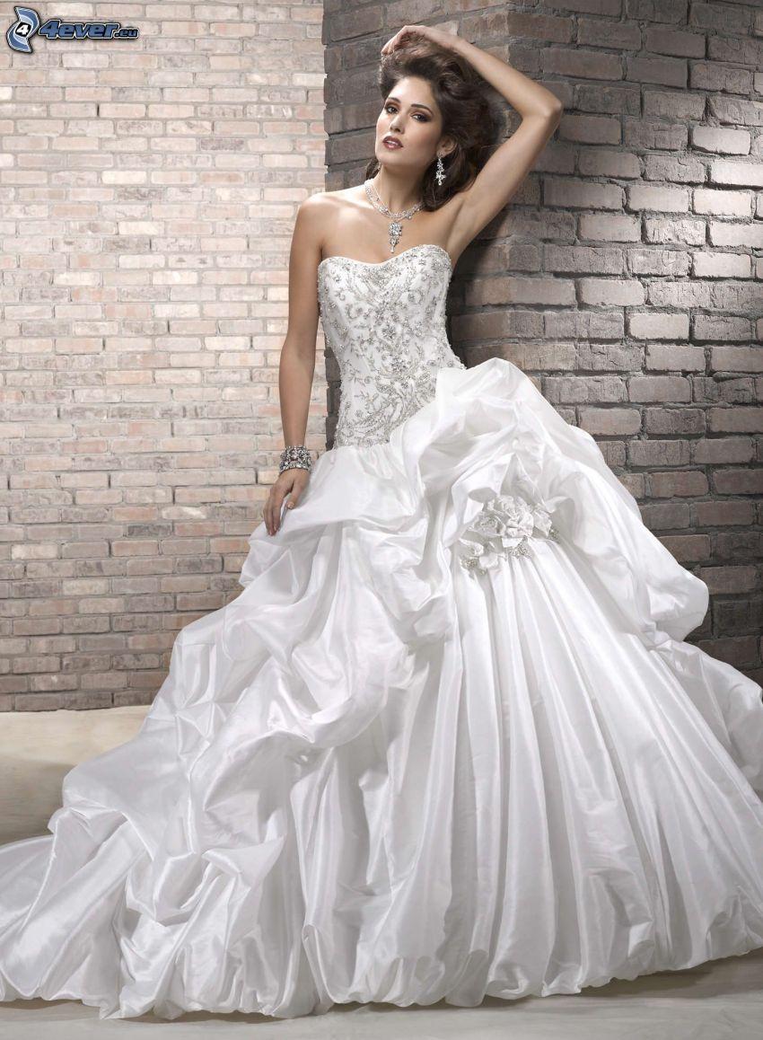wedding dress, bride, brick wall