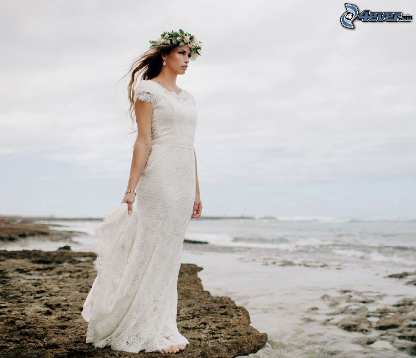 wedding dress, bride, headband, rocky shores