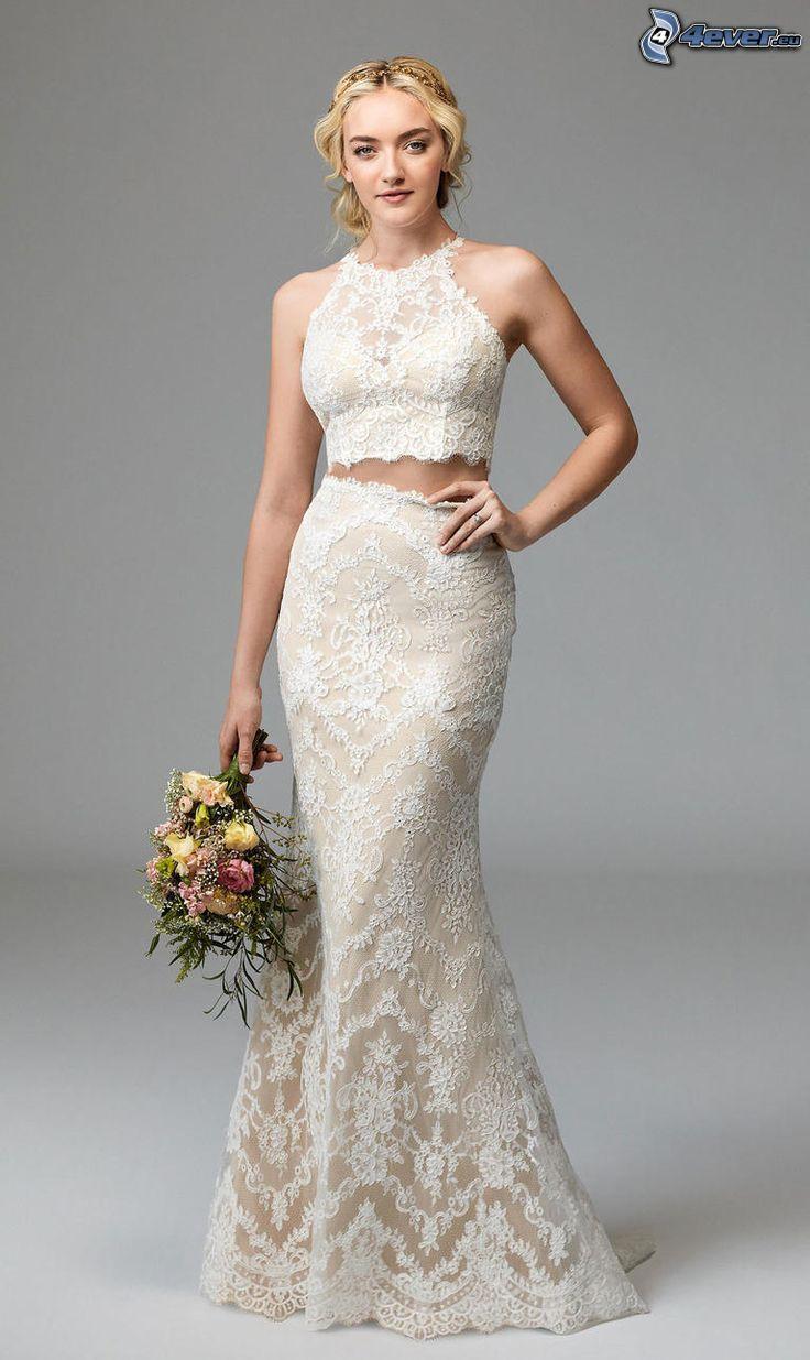 wedding dress, bride, wedding bouquet
