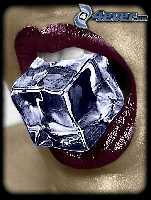 cube, ice, lips, mouth, tooth