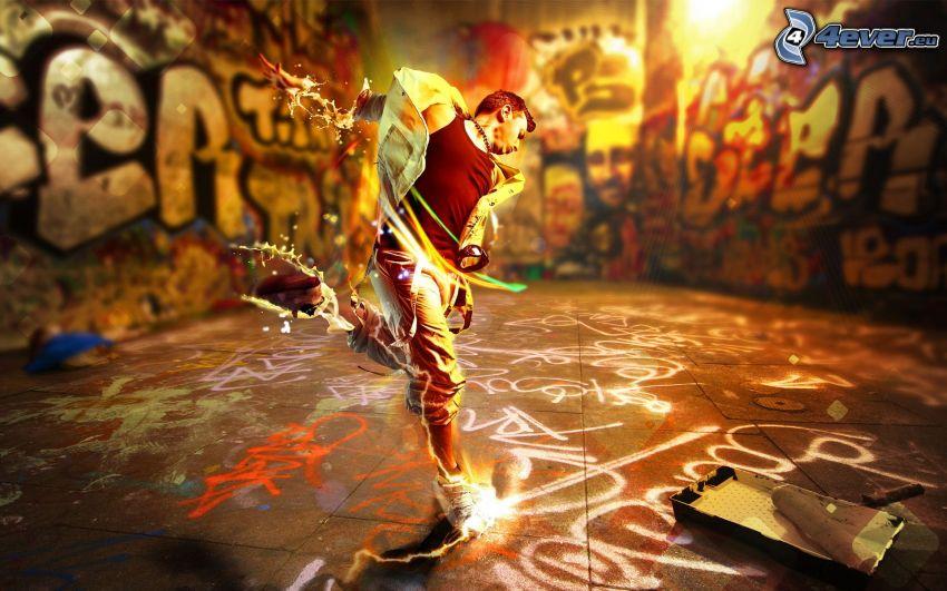 dancer, graffiti