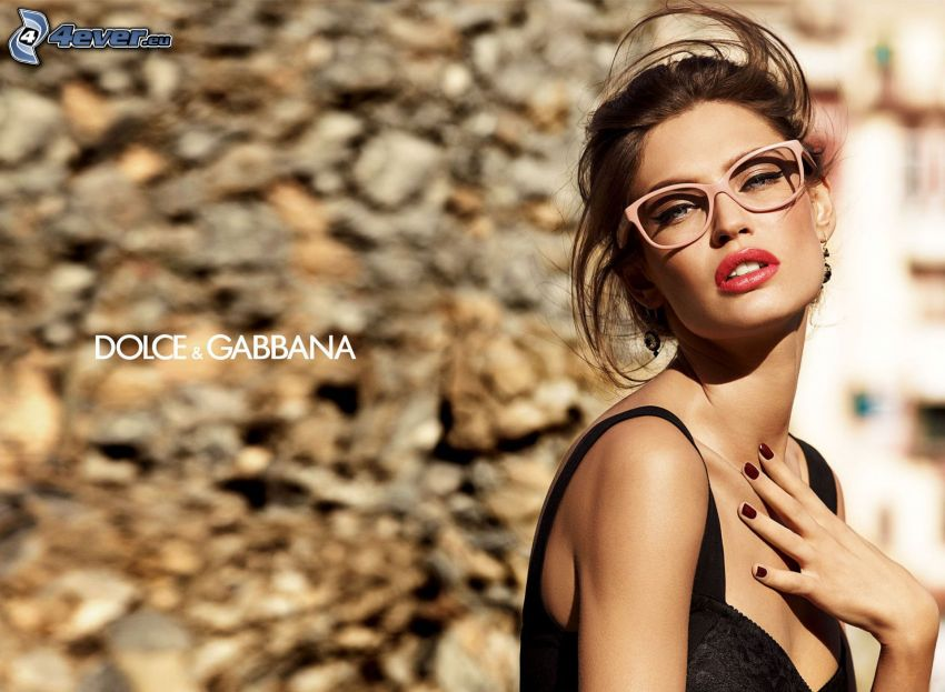 Dolce & Gabbana, brunette, glasses