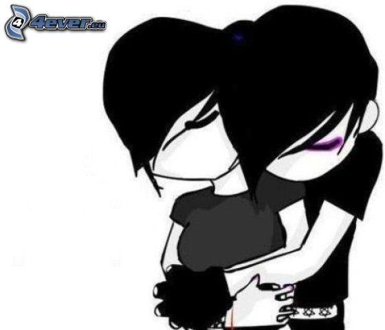 cartoon couple, emo hug, love