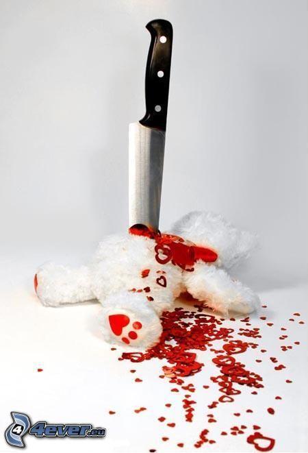 corpse, teddy bear, knife, death, blood, murder