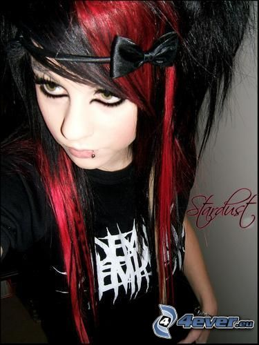 emo girl, emo, highlights, red