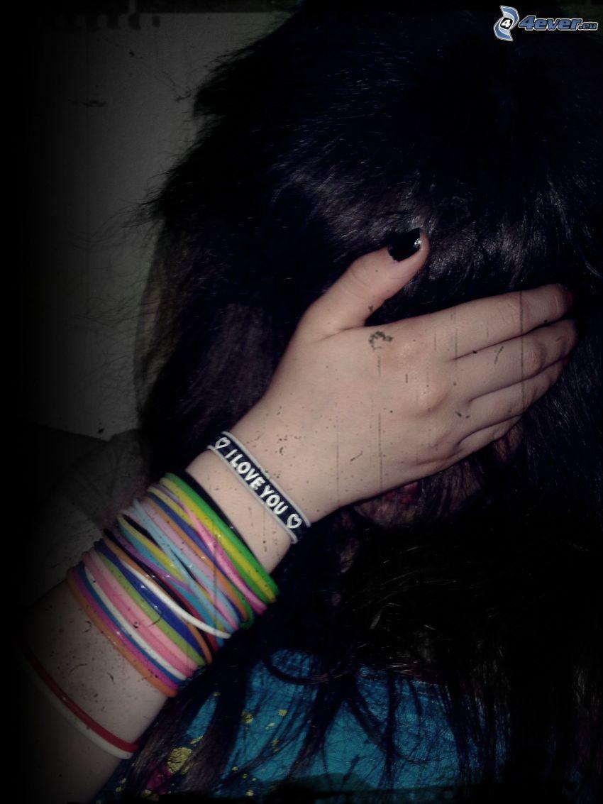 emo girl, sadness, I love you, bracelets