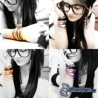 girl with glasses, bracelets, collage