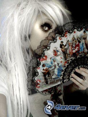 Myriam Sater, gothic girl, chinese fan, eye