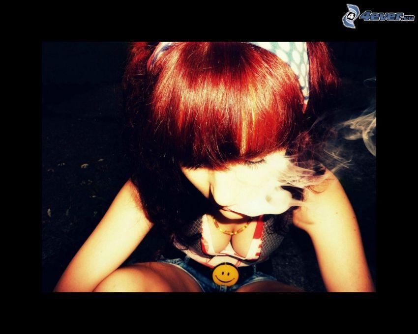 redhead, smoke, smiles