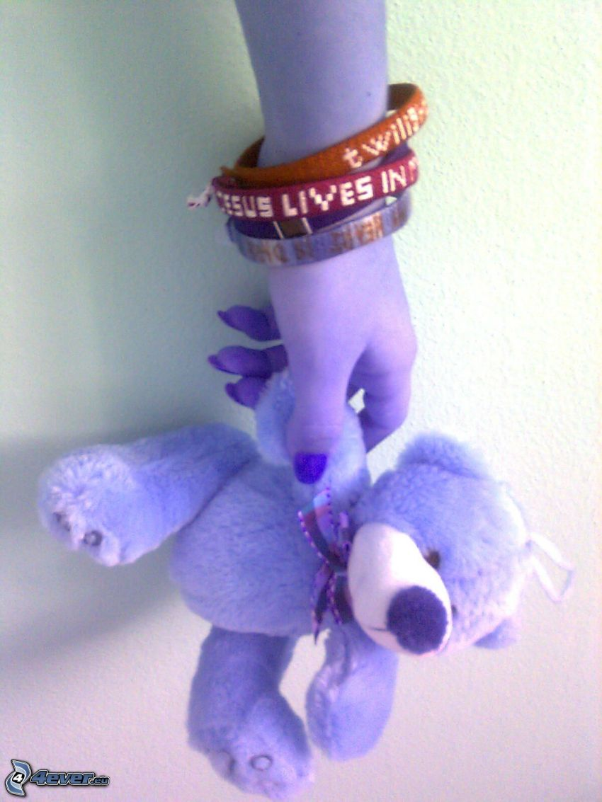 gothic, bracelet, teddy bear, hope, hand, rescue