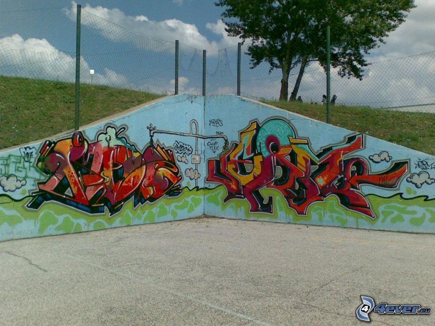 graffiti, wall, wire fence, tree